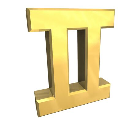 gemini astrology symbol in gold - 3d made photo