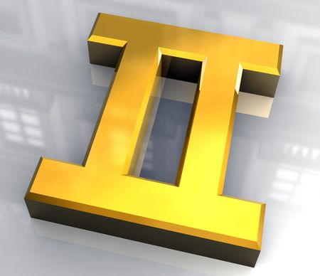 gemini astrology symbol in gold - 3d made Stock Photo - 4758261