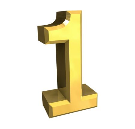 3d made - number 1 in gold Stock Photo