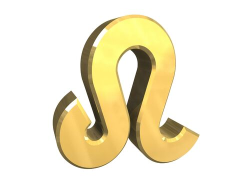 leo astrology symbol in gold - 3d made photo