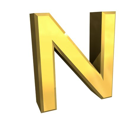 gold letter N - 3d made Stock Photo - 4758233