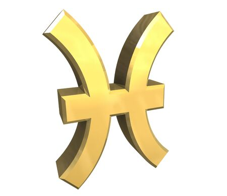 pisces astrology symbol in gold - 3d made photo