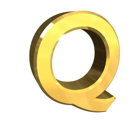 letter q: gold letter Q - 3d made Stock Photo