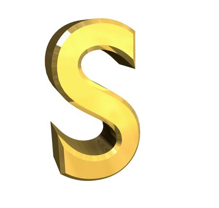 gold letter S - 3d made Stock Photo