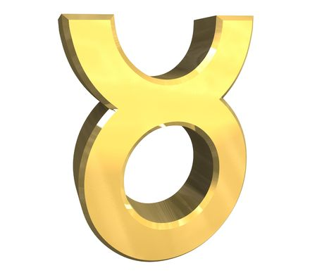 Taurus astrology symbol in gold - 3d made
