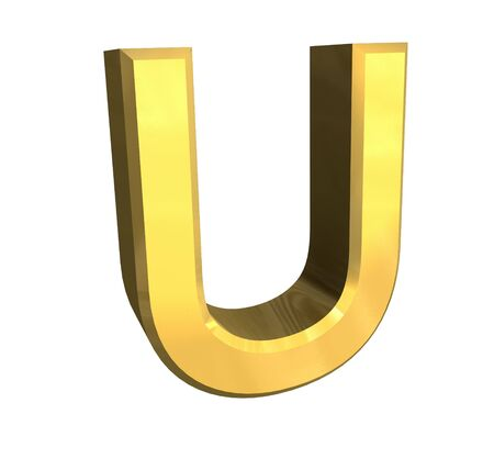 gold letter U - 3d made Stock Photo - 4758212