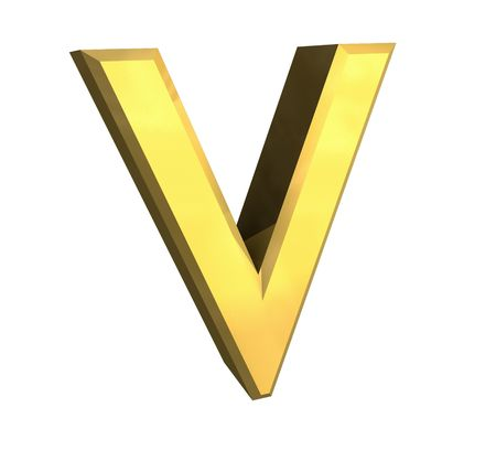 gold letter V - 3d made Stock Photo - 4758058