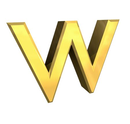 gold letter W - 3d made Stock Photo - 4758210