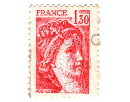 postal office: Old red french stamp Stock Photo