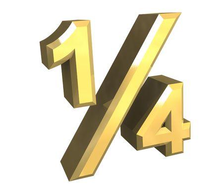 14 one quarter in gold - 3D Banco de Imagens