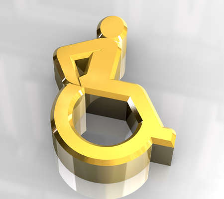 Universal wheelchair symbol in gold (3d) Stock Photo - 5546886