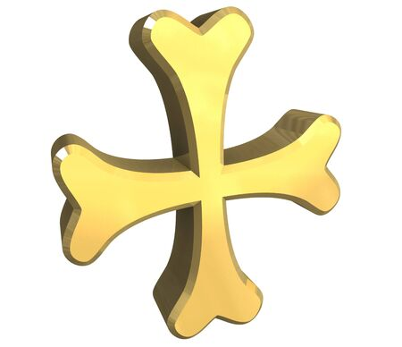 armenian: armenian cross in gold - 3D Stock Photo