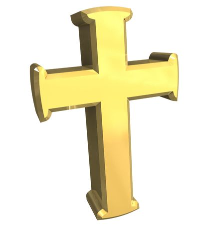 cross in gold - 3D photo