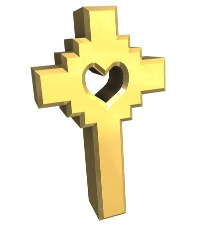 ankh cross: cross in gold - 3D