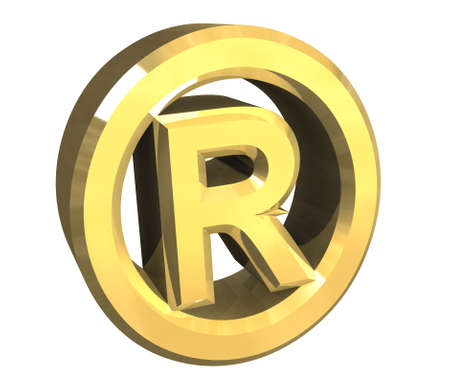 Registered symbol in gold (3d) photo