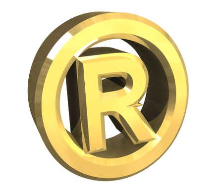 registered: Registered symbol in gold (3d)