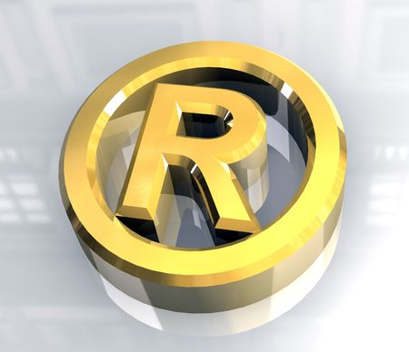 warrant: Registered symbol in gold (3d)