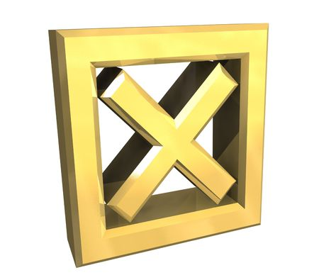 ko tick in gold isolated - 3D Stock Photo - 5569706