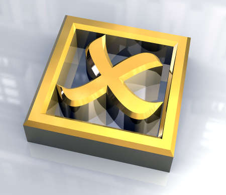 ko: ko tick in gold isolated - 3D Stock Photo