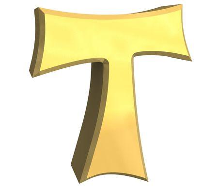 tau cross in gold - 3D Stock Photo
