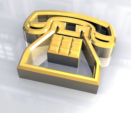 phone symbol in gold - 3D photo