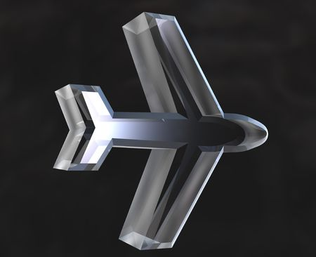 airplane icon symbol in glass - 3D made photo