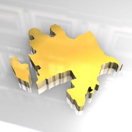azerbaijan: 3d golden map of azerbaijan
