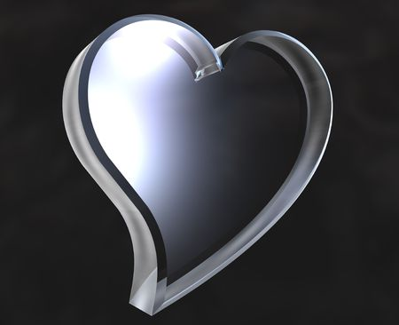 radiosity: Heart icon symbol in glass - 3D made Stock Photo
