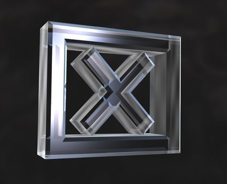 X Checked Box symbol in transparent glass - 3d made Stock Photo - 6094664