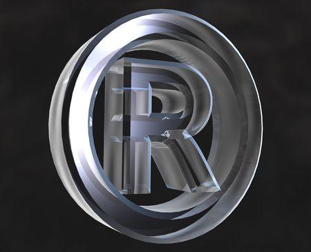 Registered symbol in transparent glass  - 3d made photo