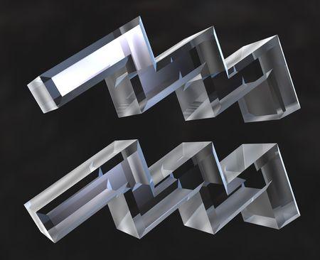 Aquarius astrology symbol in transparent glass (3d)