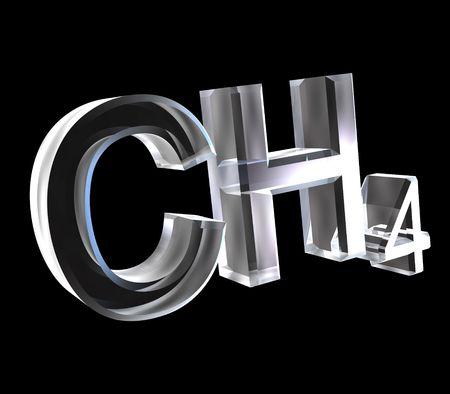 3D Chemie-Formeln in Glas von Methan Standard-Bild - 6117683