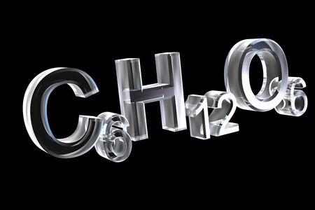 3d chemistry formulas in glass of hexose Stock Photo - 6117549