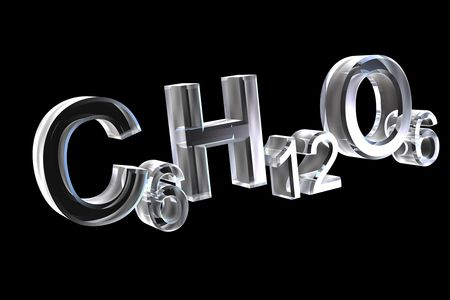 3d chemistry formulas in glass of hexose Stock Photo - 6117549