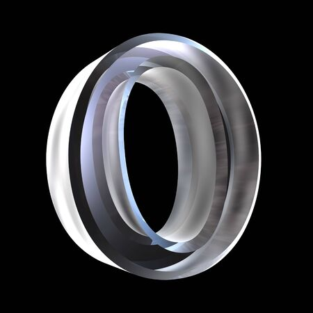gamma: omicron symbol in glass (3d)