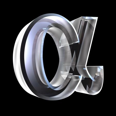 Simbolo alfa in vetro (3d)