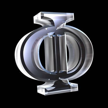 alpha: phi symbol in glass (3d)
