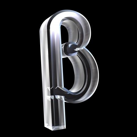 Beta symbol in glass (3d)
