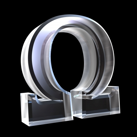 alpha: Omega symbol in glass (3d)