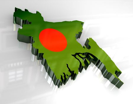 bangladesh: Bangladesh button flag map shape Stock Photo