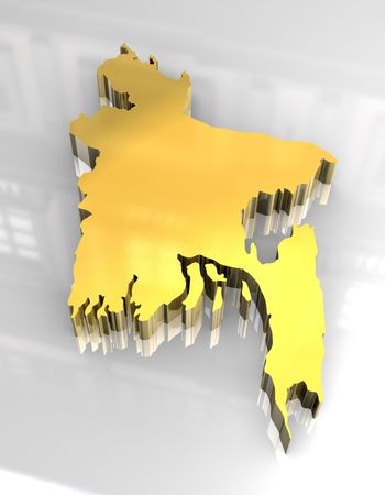 bangladesh: 3d golden map of bangladesh