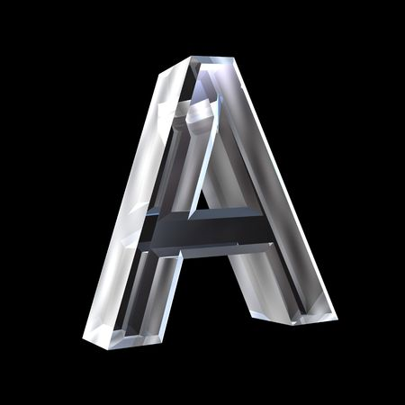 3d letters: letter A in glass 3D Stock Photo