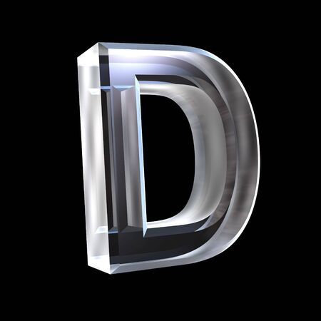 d: letter D in glass 3D Stock Photo