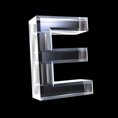 types of glasses: letter E in glass 3D