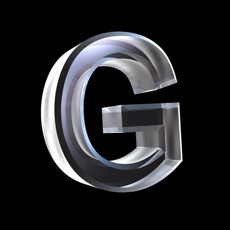 latin language: letter G in glass 3D Stock Photo