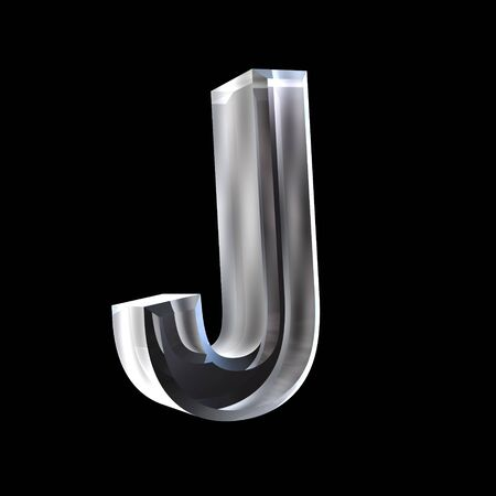 letter J in glass 3D Stock Photo - 6185359