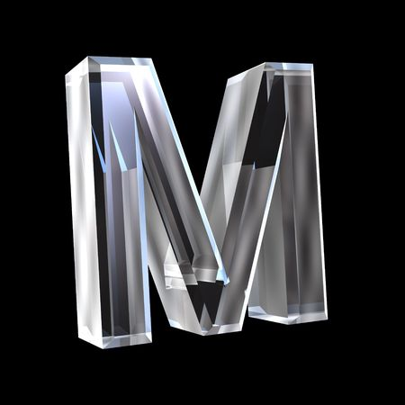 letter M in glass 3D Stock Photo - 6185358