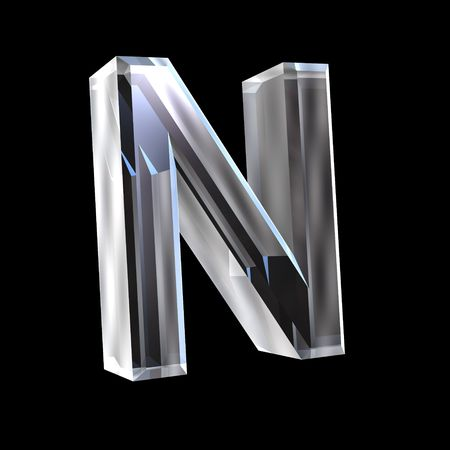 types of glasses: letter N in glass 3D Stock Photo