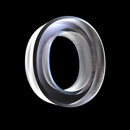 types of glasses: letter O in glass 3D