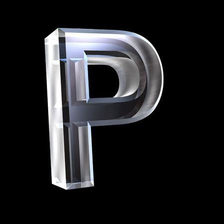 letter P in glass 3D Stock Photo - 6185369